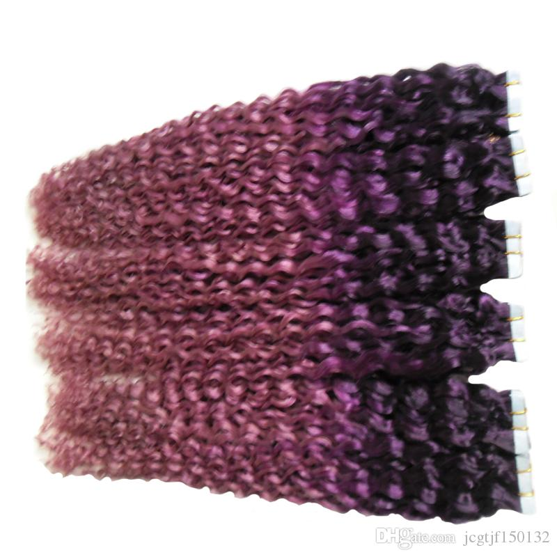 ombre Hair Extensions Human Tape in kinky curly Purple/Pink Skin Weft Tape Hair Extensions 300g Tape Adhesive Skin Weft Hair