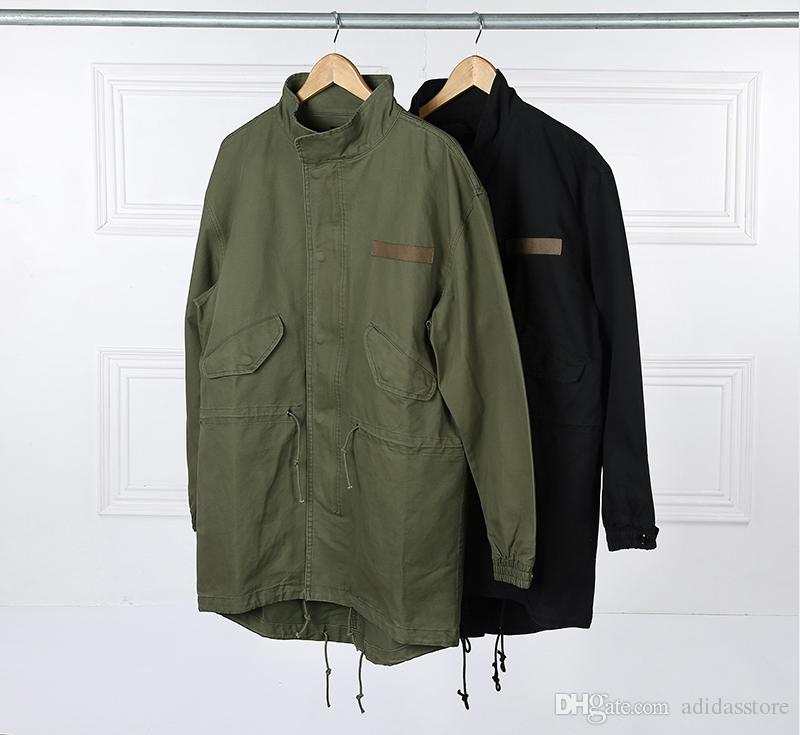 Military Style Kanye West Army Green Trench Coat Mens Kpop Clothing Applique Design Cargo Jackets YEE3321