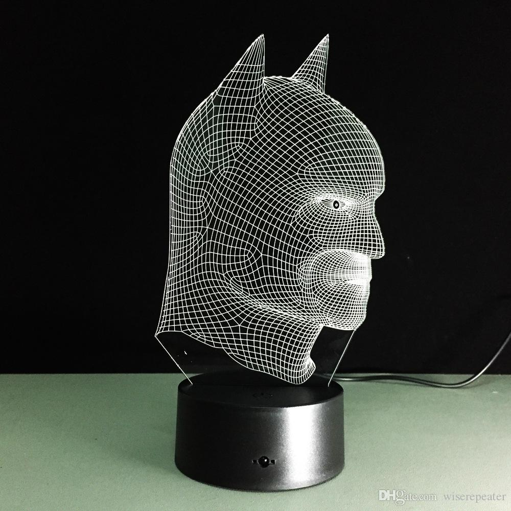 2017 Batman Head 3D Optical Illusion Lamp Night Light DC 5V USB Charging AA Battery Wholesale Dropshipping