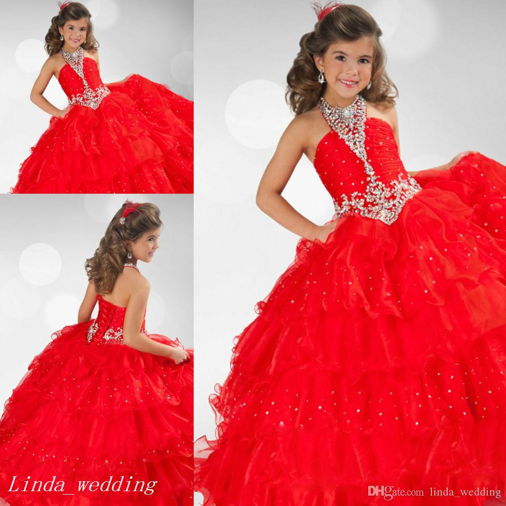 Red Girl\'S Pageant Dress Princess Ruffles Lace Up Closure Party ...