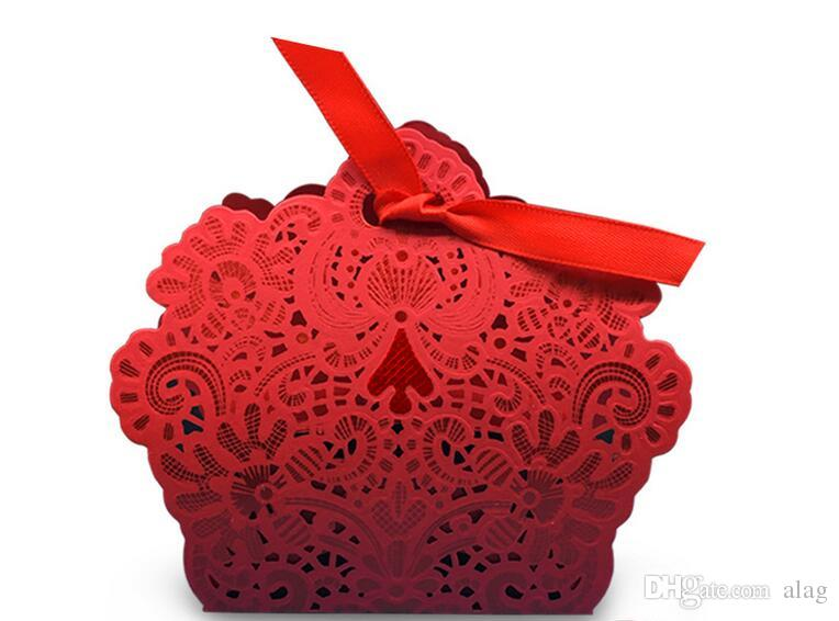 2017 romantische Hochzeit Geschenk Box Elegante Luxus Dekoration Laser Cut Party Süße Gefälligkeiten Gast Geschenk Hochzeit Papier Pralinenschachteln blau golden THZ21
