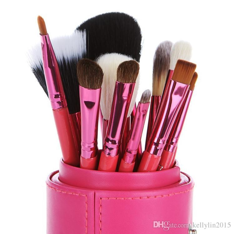 Makeup Brushes Sets with Cup Holder Goat hair Professional Cylinder Cases Cosmetic Brush for Eyes Foundation Make up brush kit