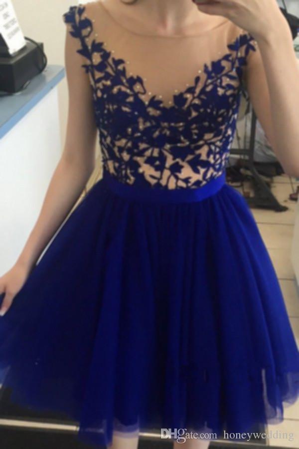 2017 новый короткий Homecoming платья Sheer Scoop шеи аппликации из бисера мини младший 8-го класса выпускной вечер платье дешевые 2016