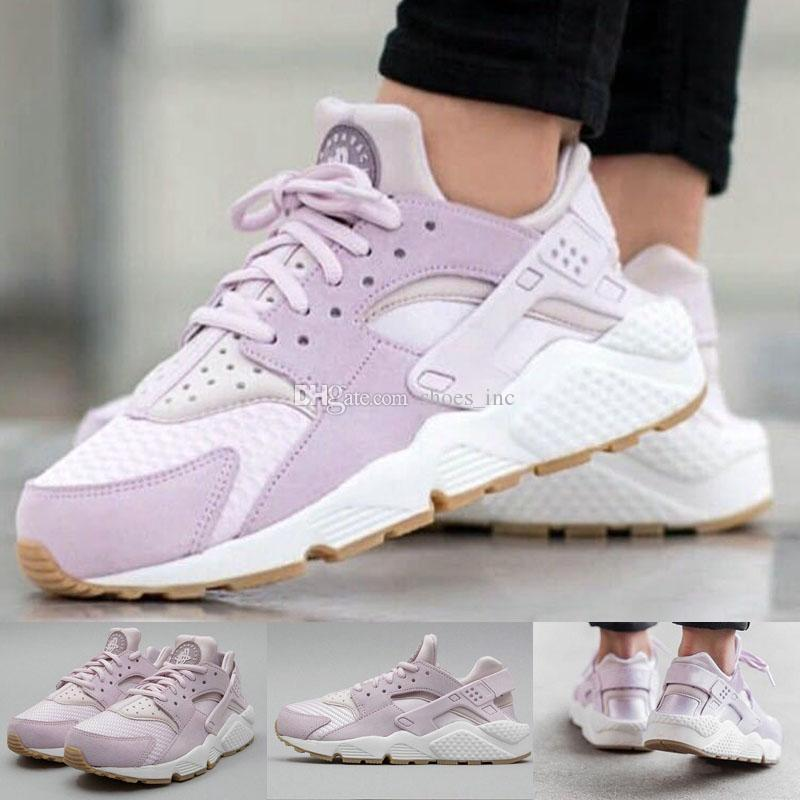 167b49cb9635 Hot Sale Huarache Run TXT Textile Bleached Lilac Easter 818597 500 Women  Sport Sneakers Shoes Mens Shoes Combat Boots From Shoes inc