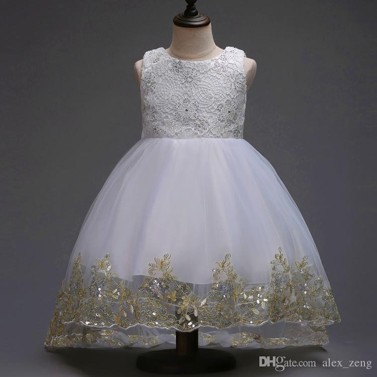 Baby Girls Dress Short Sleeve Tutu Lace Bow Princess Dresses Kids Dancing Wedding Floor-Length Dress Girl Party Princess Dress