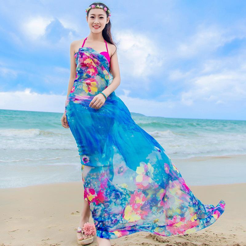 932ce998acb 2019 Chiffon Sarongs Sexy Women S Floral Print Pareo Beach Scarf Swisuit Cover  Ups Plus Size Summer Shawls Bikini Scarves From Scarfhatglove