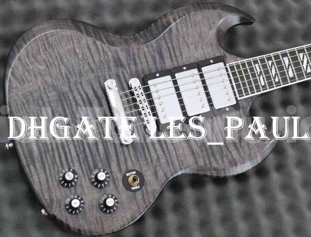 8cfa6937b80c77 Custom Shop Flame Maple Top SG Unique Electric Guitar Black   Gray ...