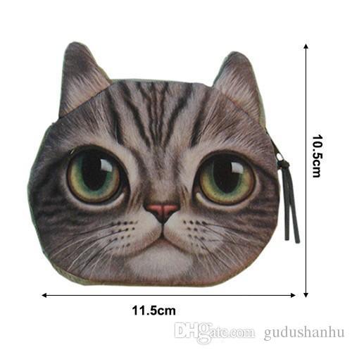 참신 소녀 2015 새로운 브랜드 패션 만화 귀여운 고양이 얼굴 지퍼 케이스 동전 케이스 지갑 지갑 메이크업 버기 가방 파우치