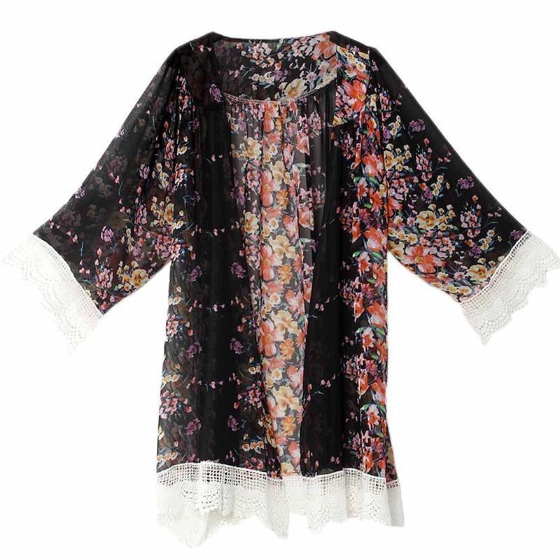 Nuove donne pizzo nappa fiore modello scialle kimono cardigan stile casual crochet pizzo cappotto in chiffon coprono camicetta i scegliere la nave libera