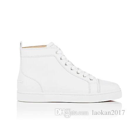 2018 Tasarımlar Erkekler Moda Ayakkabı Kırmızı Alt Sneaker Lüks Parti Düğün Ayakkabı Hakiki Deri Louisfalt Spikes Dantel-up Rahat Ayakkabı Siyah ...