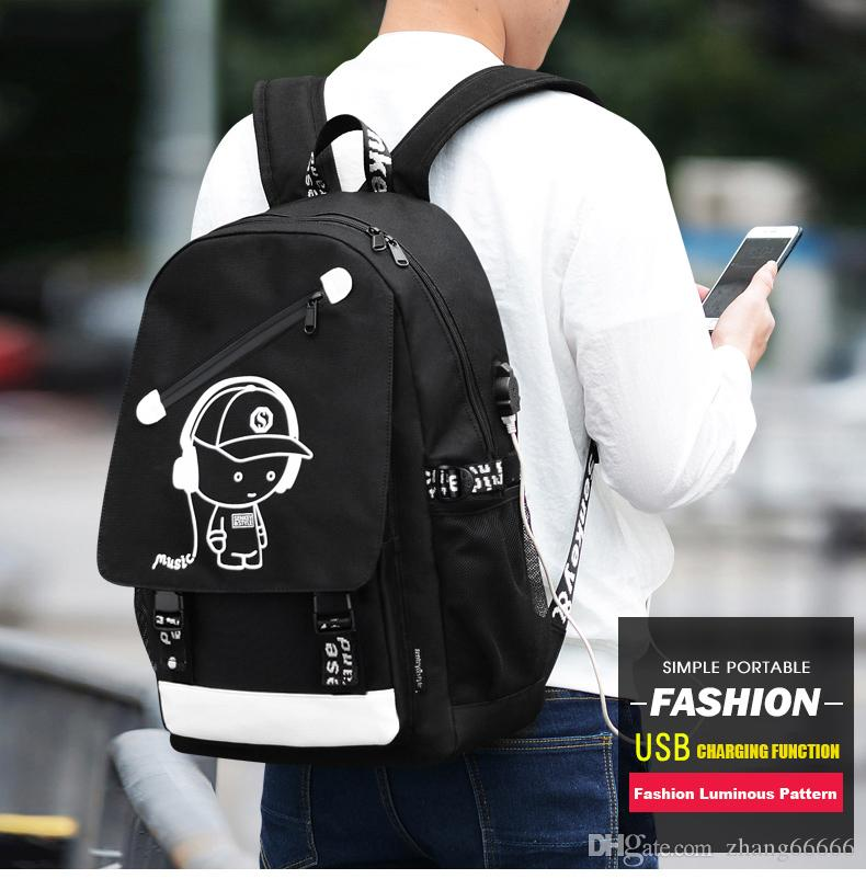 Men Backpack Fashion External USB Charging Laptop Mochila Cartoon Anime Student Luminous School Bags For Teenagers