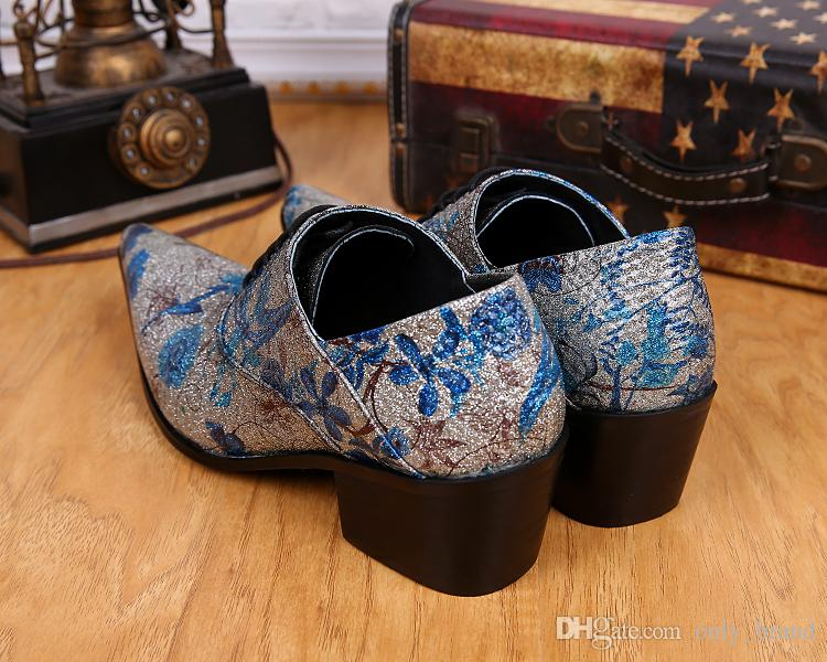 Shine Fashion Tide Mens High Quality Blue Flower Silver Male Shoes Lace-Up Oxfords Party Ball Dance Shoes Casual Genuine Leather Shoes