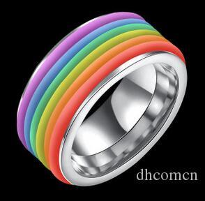 티타늄 강철 레인보우 반지 남성과 여성을위한 도매 새로운 패션 한국어 스타일 좋은 품질 핫 세일 쥬얼리