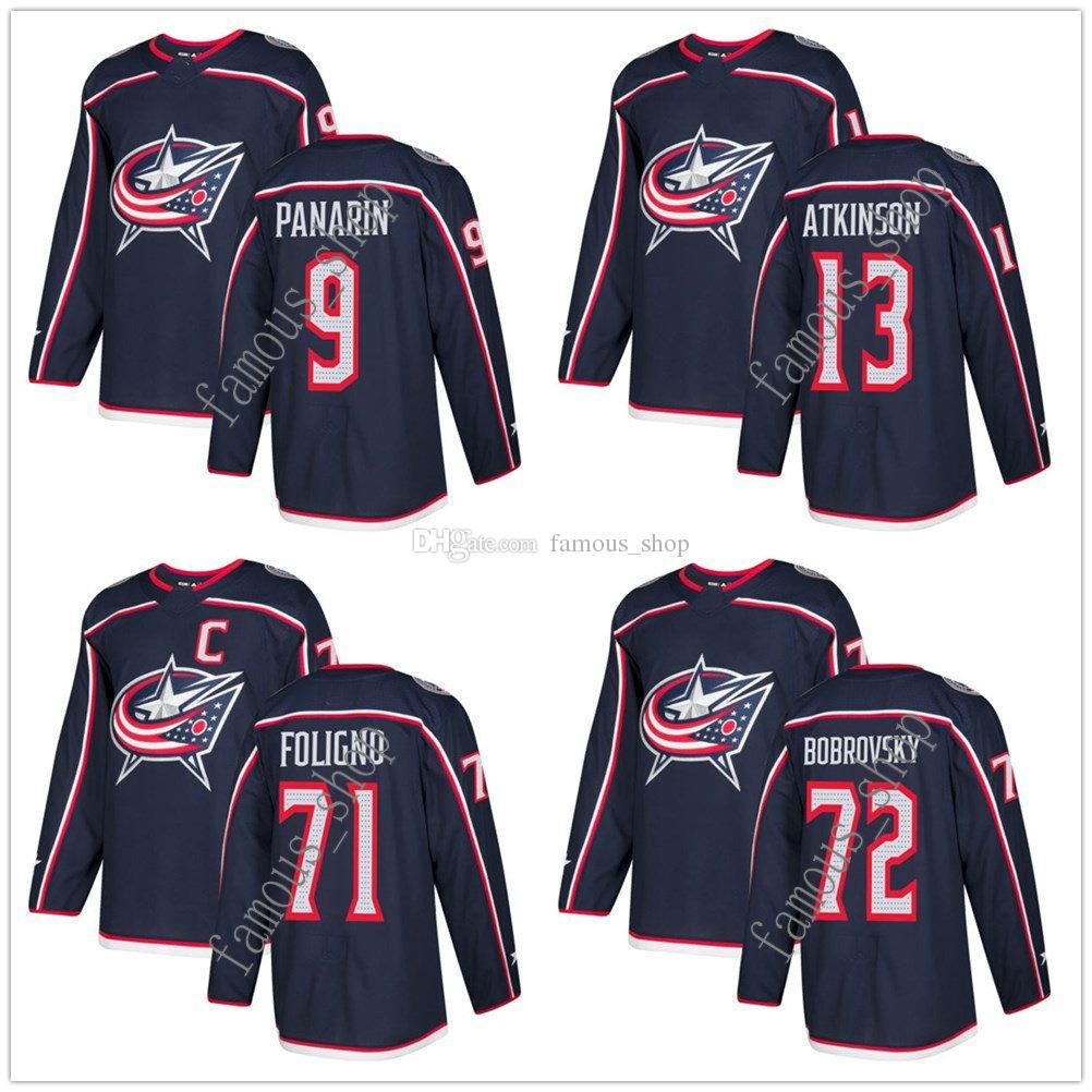 cc109ae1 ... Home Stitched NHL Jersey 2017 2018 New Season Columbus Blue Jackets 72  Sergei Bobrovsky Jerseys Custom Navy 9 Artemi Panarin ...