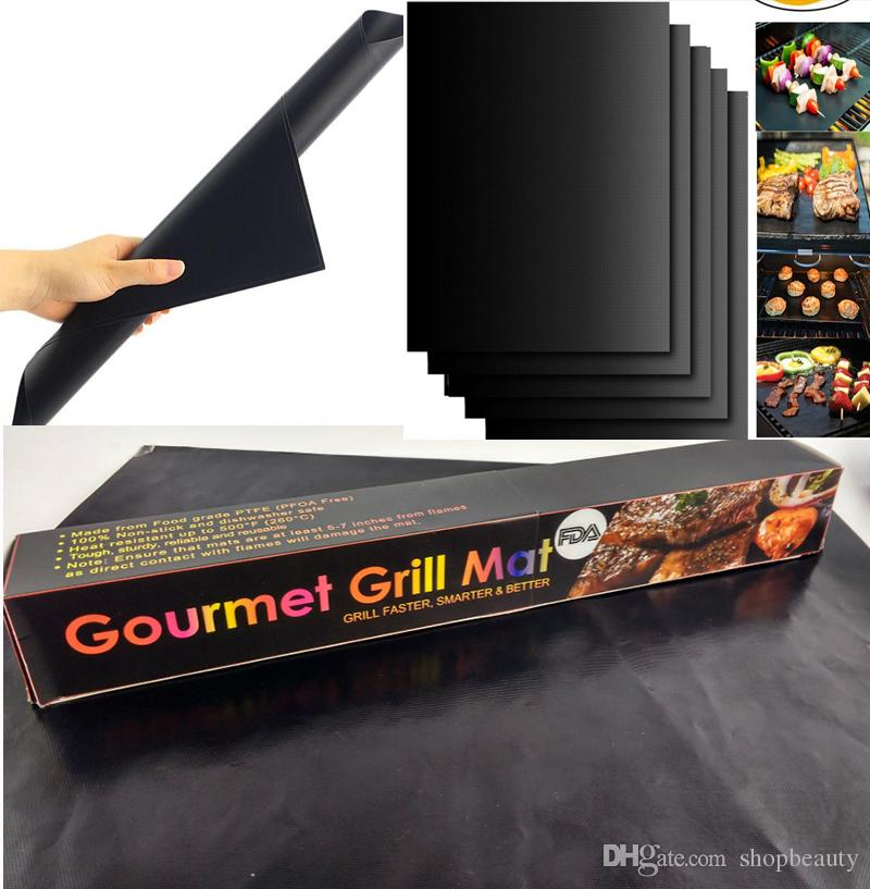 Non Stick BBQ Grill Mat Reusable Reversible FDA Approved PFOA Free Portable Easy Clean Outdoor Cooking Tool BBQ Lawn Garden 52g/pcs With Box