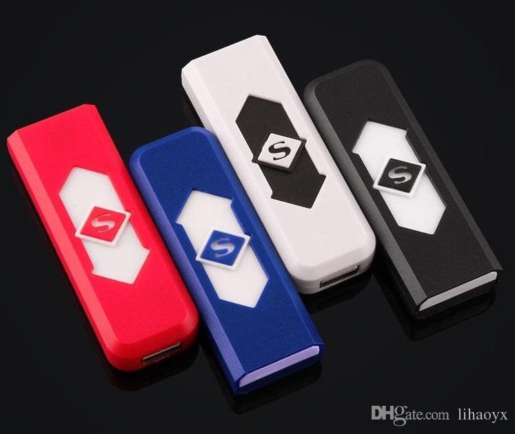 USB Lighter Rechargeable Electronic Lighter Super Man Cigarette Turbo Lighter Battery Flameless Cigar c127