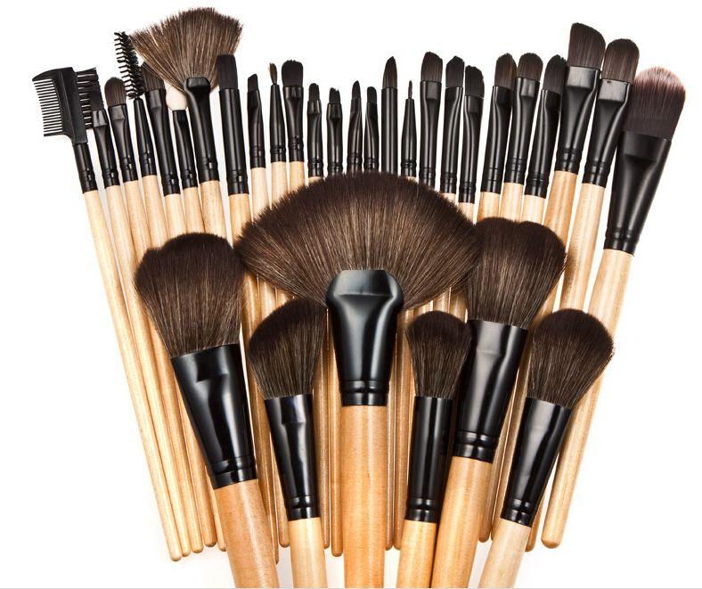 Makeup Brushes Wood pink black mini Set Cosmetic Brush Set Roll Up Case Eyeliner Eyeshadow Brush Makeup Tools DHL