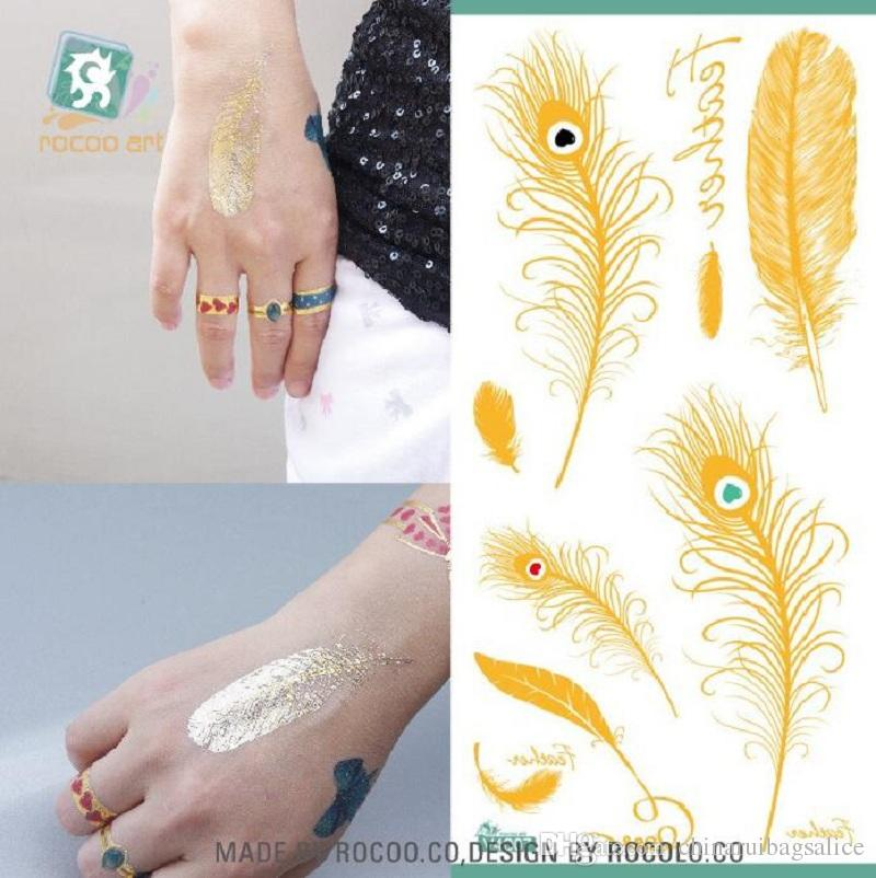 16.5*8cm Temporary fake tattoos Waterproof tattoo stickers body art Painting for party decoration etc mixed golden feather flower bowknot