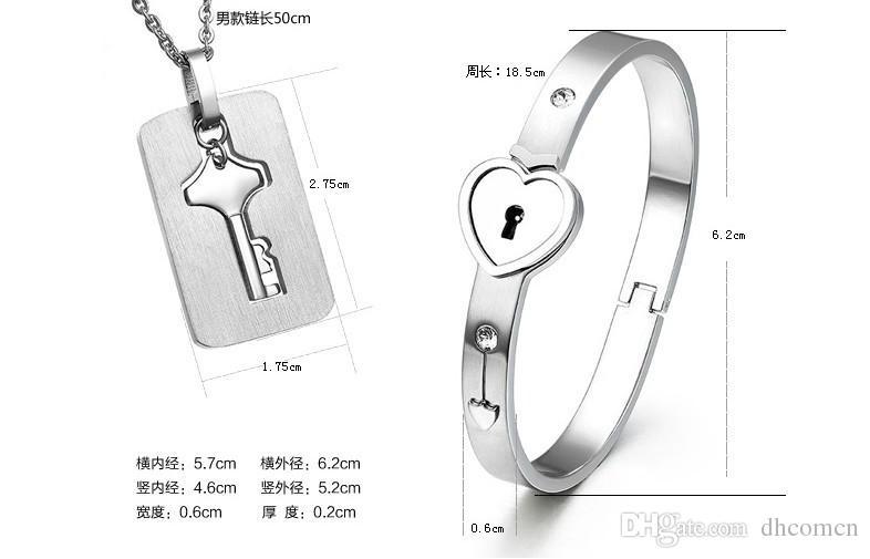 Coppia Titanium Key Lock Bracciale in titanio Collana con bracciale in titanio Set di gioielli in titanio San Valentino