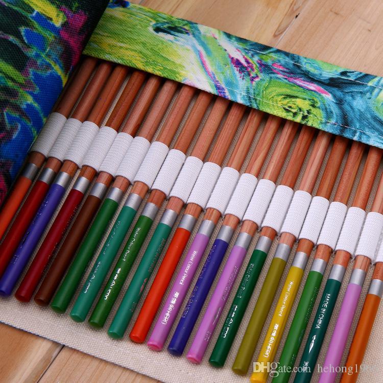 Schule Bleistiftbeutel Kosmetik Pinsel Kugelschreiber Leinwand Rollen Taschen Klassenzimmer Lernen Liefert Büro Bleistifte Fall Heißer Verkauf 25 5ss C R