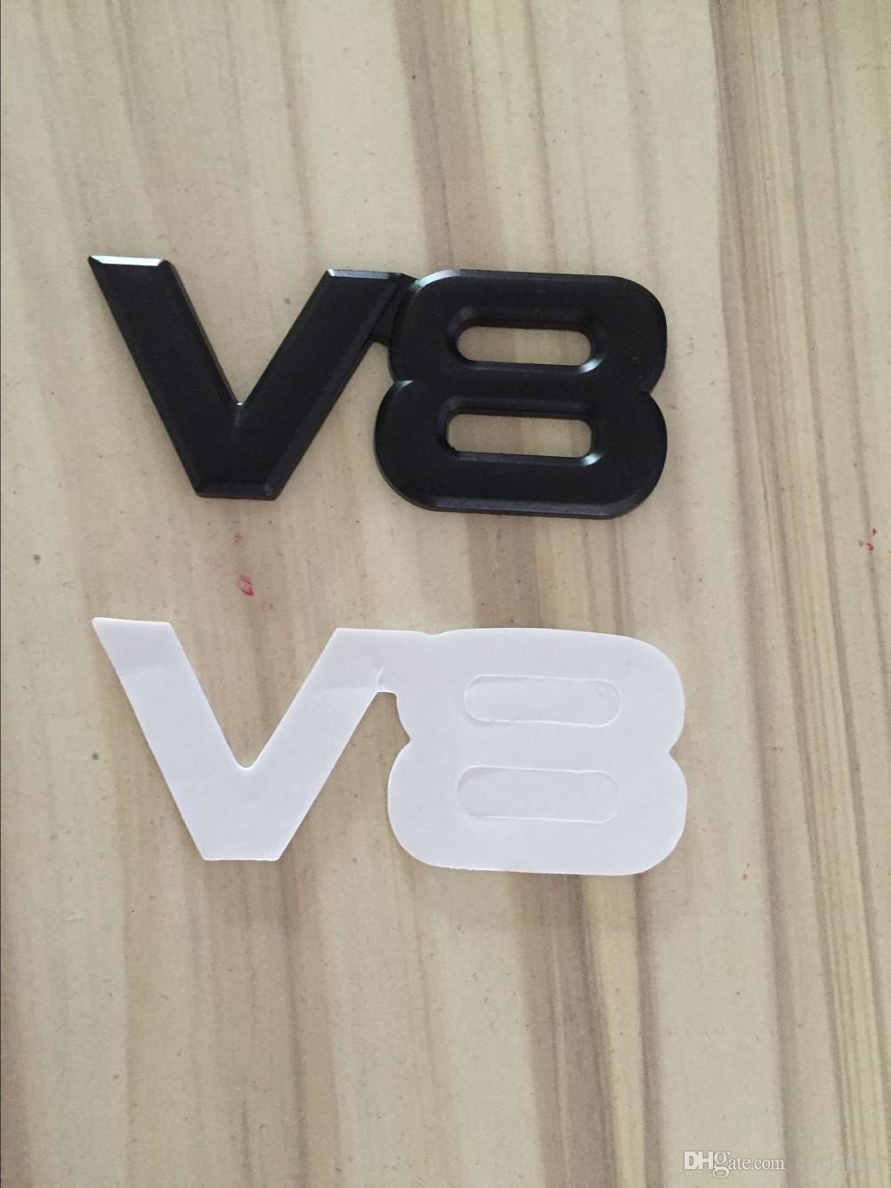 стилизации 3D Metal V8 Эмблемы Значки автомобилей Наклейки автомобилей черный и серебристый