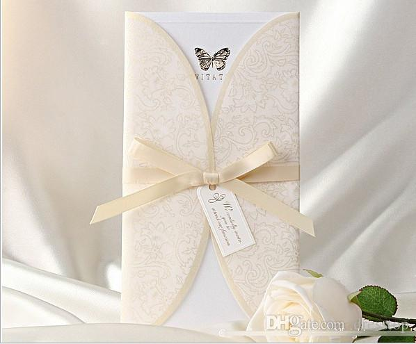 Blocking Butterfly Wedding Invitation Cards Personalized Party Printable Invitation Card With Ribbon Bow And Envelope Sealed Card