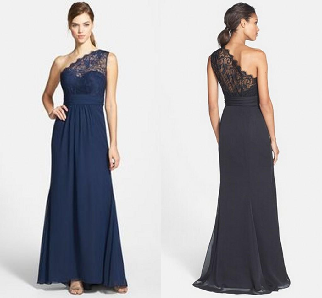 One Shoulder Lace Top Beach Bridesmaid Dresses Long A Line ...