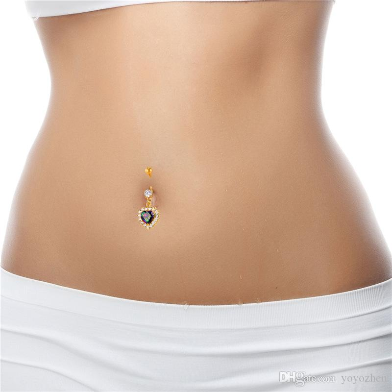 Fashion Women Body Jewelry with Cubic Zirconia Platinum/18K Real Gold Plated Heart Love Belly Button Rings
