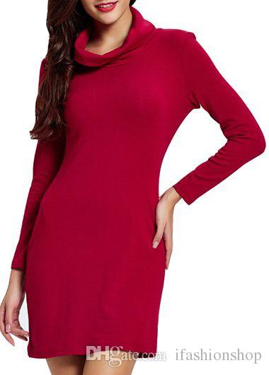 58bffd96fc Long Sleeve High Waist Red Sweater Dress Hot Sale Casual Dresses Dresses  Party Cocktail Black Womens Clothing From Ifashionshop