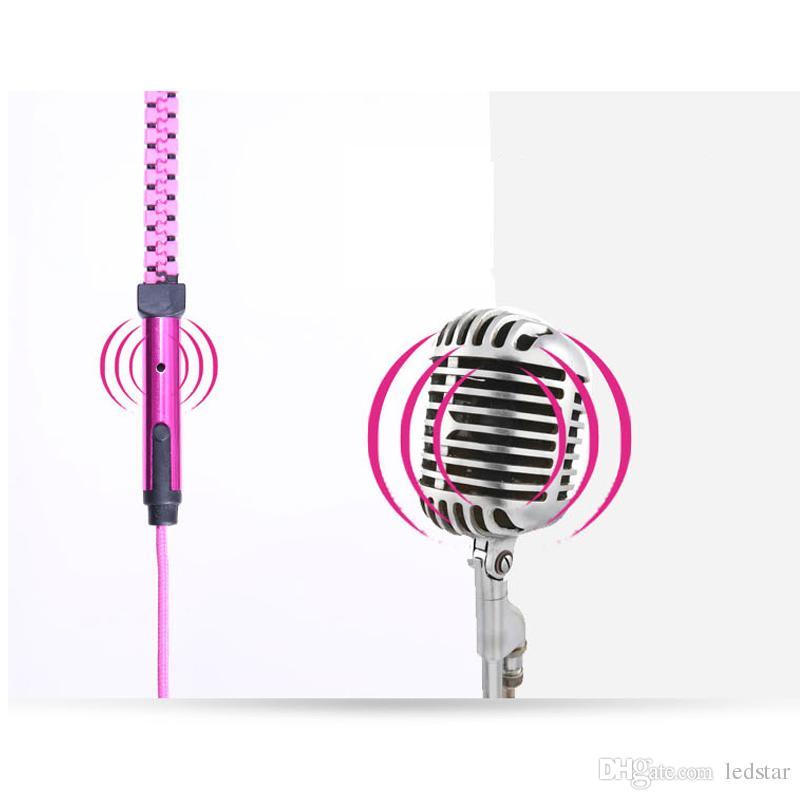 Auricolari con cerniera 3.5mm Jack Bass Auricolari In-Ear Zip Cuffie con microfono Iphone 8 Plus Samsung S8 MP3 MP4