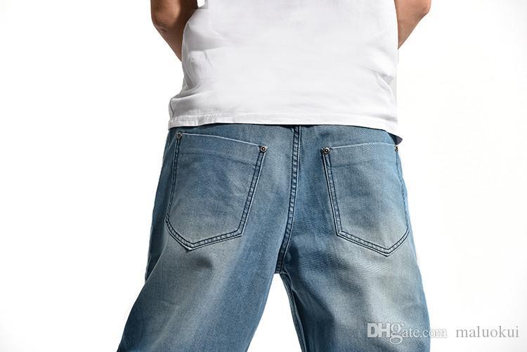 2016 Brand Men Baggy Jeans Big Size Mens Hip Hop Jeans Long Loose Fashion Skateboard Relaxed Fit Jeans Mens Harem Pants