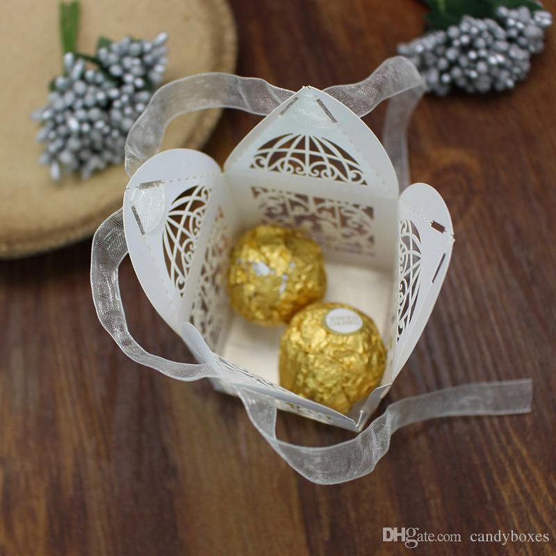Baby shower decor tiny loving birds ribbon deco heart shape favor box candy boxes wed favor boxes party supplies