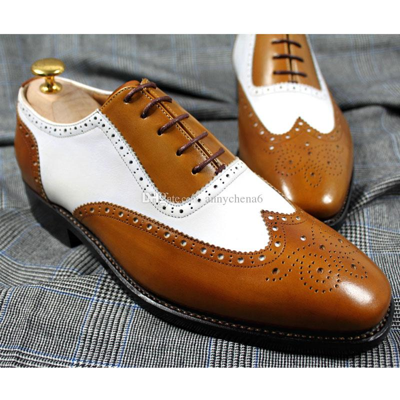 1aa988df1b55 Men Dress shoes Men's shoes Custom Handmade shoes Genuine calf leather  oxford shoes wingtip brogue shoes color split HD-N113