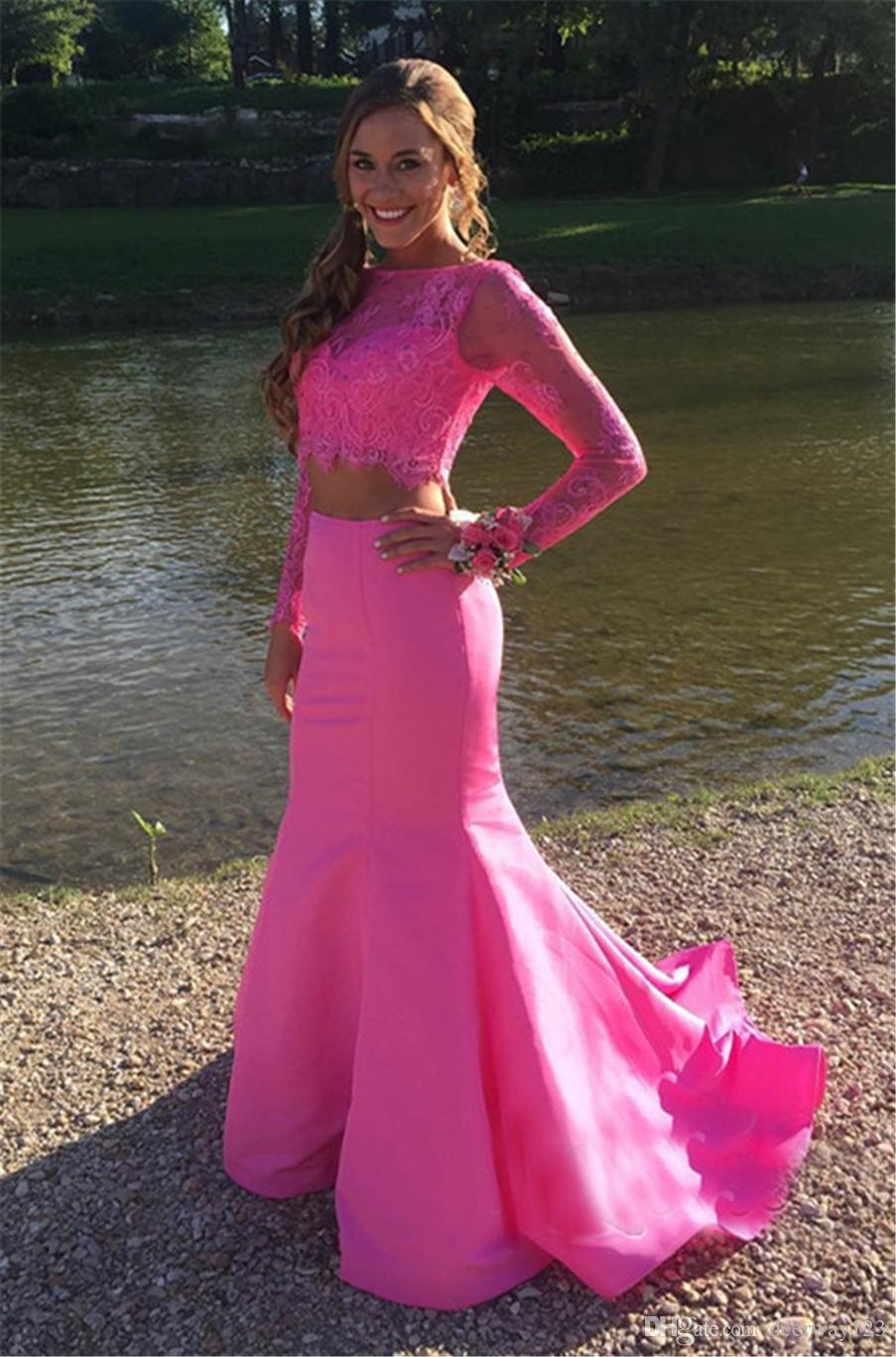 Mermaid Cute Two-Piece Long-sleeve Lace Prom Dress Jewel Neckline Pink Taffeta Evening Dress vestidos para formatura