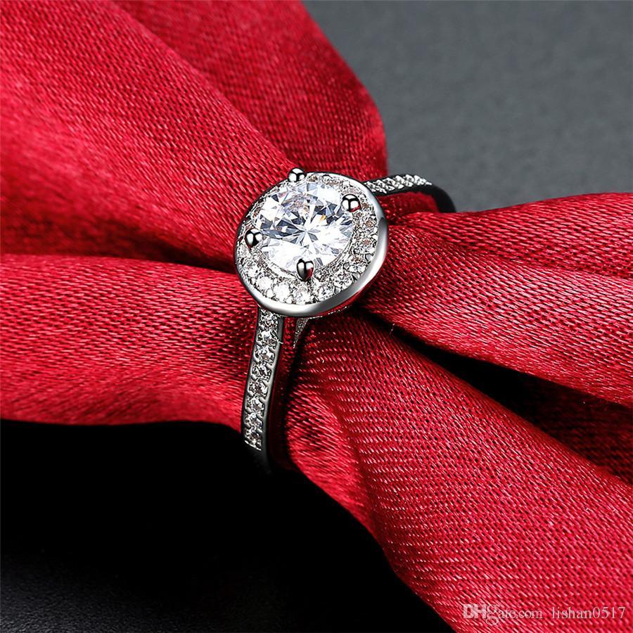 Prawdziwy Pure Gold Pierścień 18krgp znaczek Oryginalne pierścienie Zestaw 1 CT CZ DIAMANT Obrączki do pierścienia kobiet