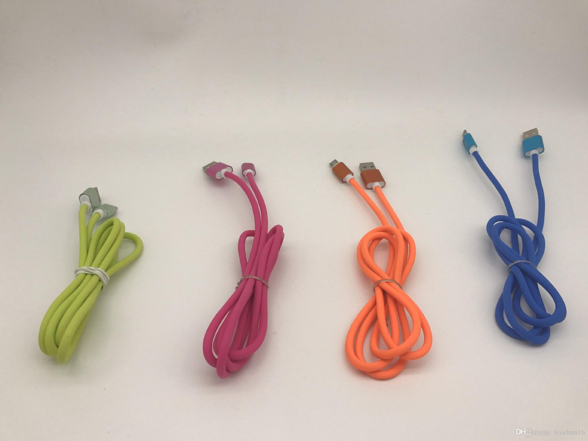 Colorful Q Candy Aluminum Metal Charger Cord TPE USB Data Cable V8 Micro USB Type C Charging Line for Mobile Phone