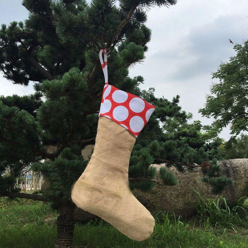 2017 холст рождественский чулок подарочная сумка Xmas чулок Рождественская елка украшения носки Xmas чулки 9Styles 12*18inch
