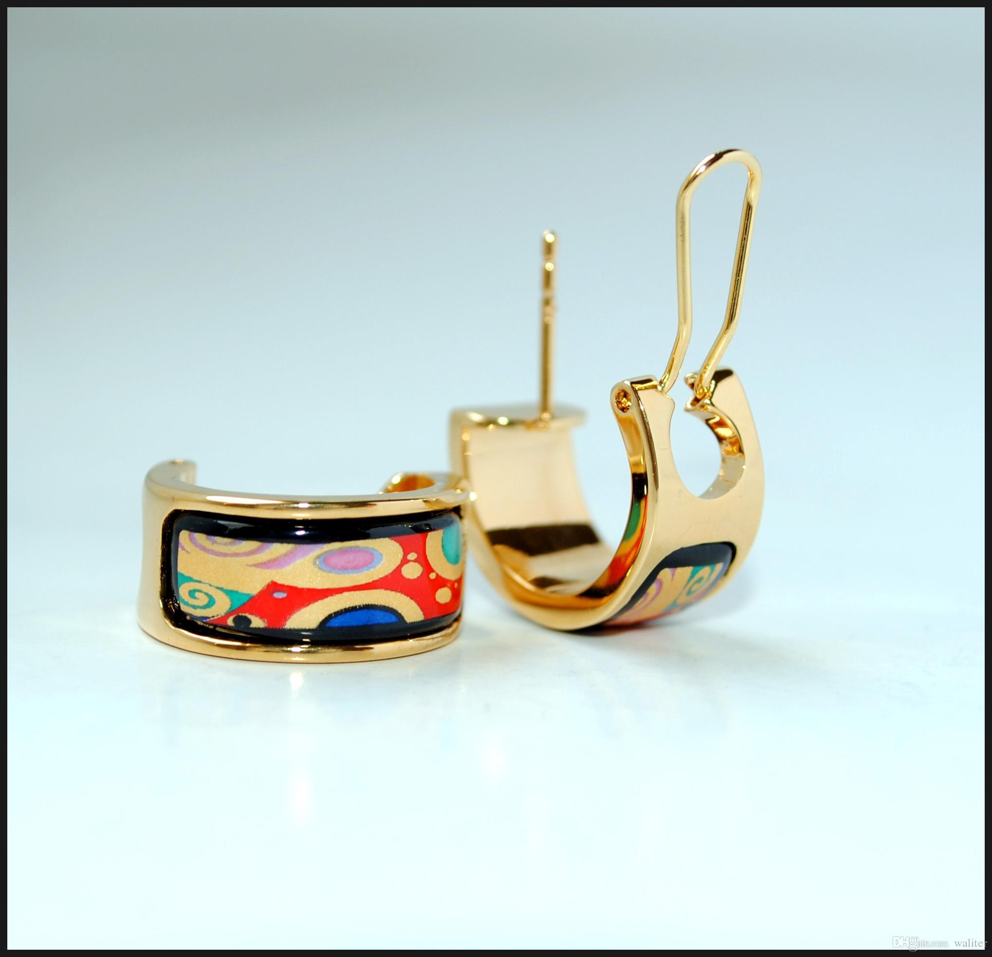 Pendientes de esmalte de aro de la serie de la vida de los árboles de la serie de la vida de la mujer para mujer de la mujer de calidad superior de la joyería de diseño