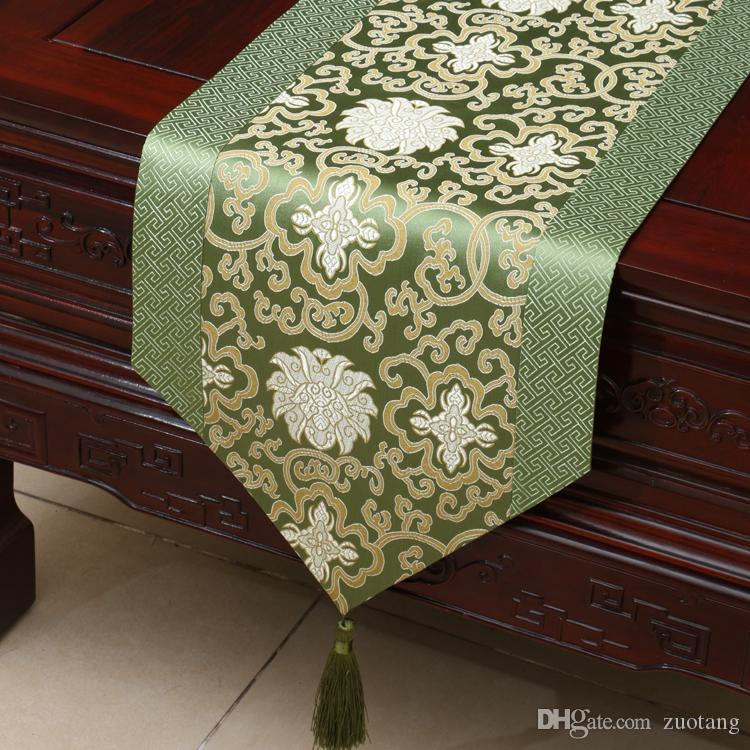 90 inch Lengthen Happy Flower Table Runner Luxury Patchwork Silk brocade Coffee Table Cloth Fashion Simple Dining Table Mats 230 x 33 cm