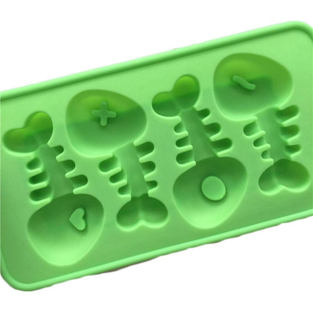 4-cavity Cartoon Fish Bone Silicone Cake Candy Soap Decoration Mold Chocolate Ice cube Tray