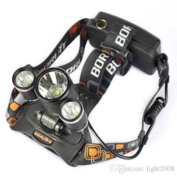 6000 Lumens Headlight 3 LED Cree XM-L T6+2R5 Head Lamp High Power LED Headlamp +2*18650 battery+EU/US/AU/UK Charger+car charger