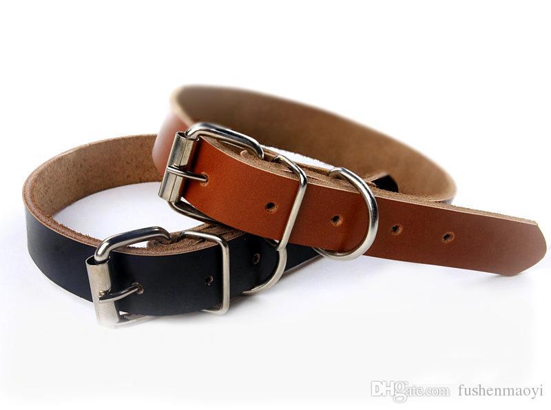 Venda quente Acessórios para cães Couro Real Couro Coleiras de cachorro 2 cores 4 tamanhos Atacado Frete grátis