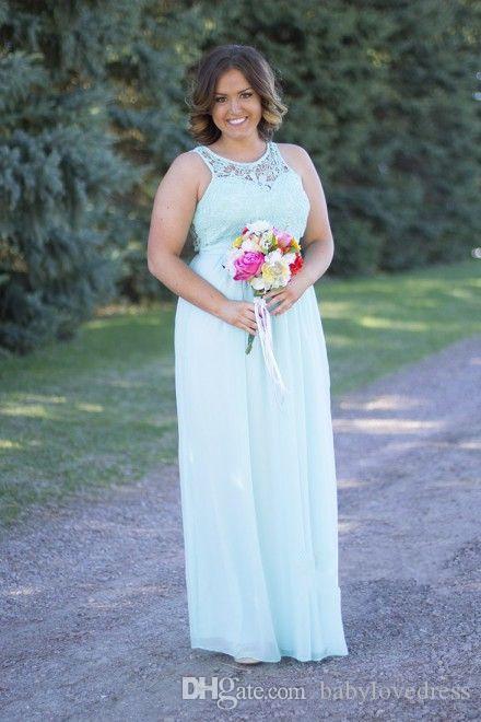 Land Blau Rosa Elfenbein Landhausstil Günstige Brautjungfernkleider Sommer Backless Lace Mutterschaft Chiffon Long Beach Maid of the Honer Kleider