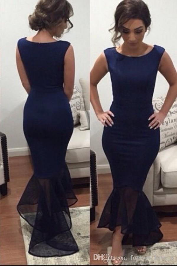 신부 인어 이브닝 드레스 다크 네이비 보석 목 민소매 저렴한 고품질 비대칭 헴 댄스 파티 드레스의 우아한 어머니
