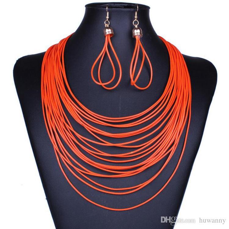 Monili di cuoio PU regolano Earrings caldi di vendita e collane Set gioielli di moda regalo delle donne della ragazza di partito commercio all'ingrosso libero di trasporto 0413WH