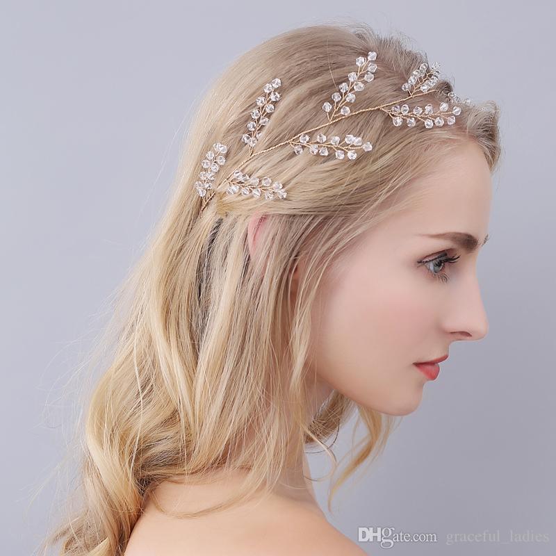 2e3902835 Gold Wedding Headband Hair Accessories Bridal Tiaras Headpieces For Hair  Pearl Clear Beads Headband Crystal Jewelry Handmade High Quality Bride Hair  Comb ...