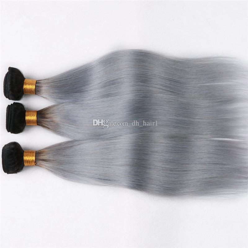 8А Класс Ombre Virgin Бразильские Волосы Прямые 3 Связки 1B Серый Ombre Человеческие Волосы Темные Корни Двухцветные Девственные Волосы 3 Шт.
