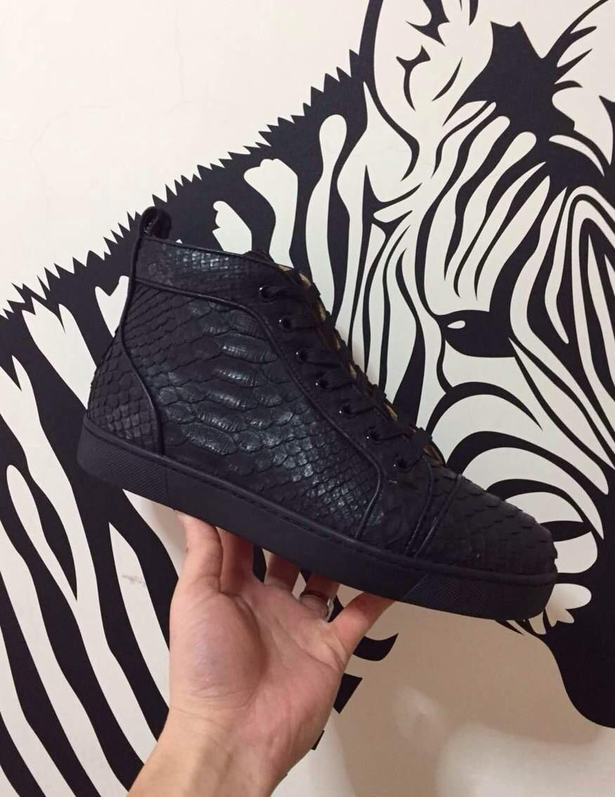 ac3e2894018 Size:36-46 Black Snake Leather High Top Red Bottom Fashion Sneakers For Man  and Women,Unisex Luxury Brand Winter Casual Shoes