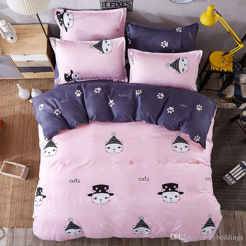 Love Cat Cartoon Bedding Sets Pink Comforter Set Duvet Cover Bed Sheet Sets  Single Double Queen King Size Kids Bedding Beach Bedding Floral Bedding  From ...