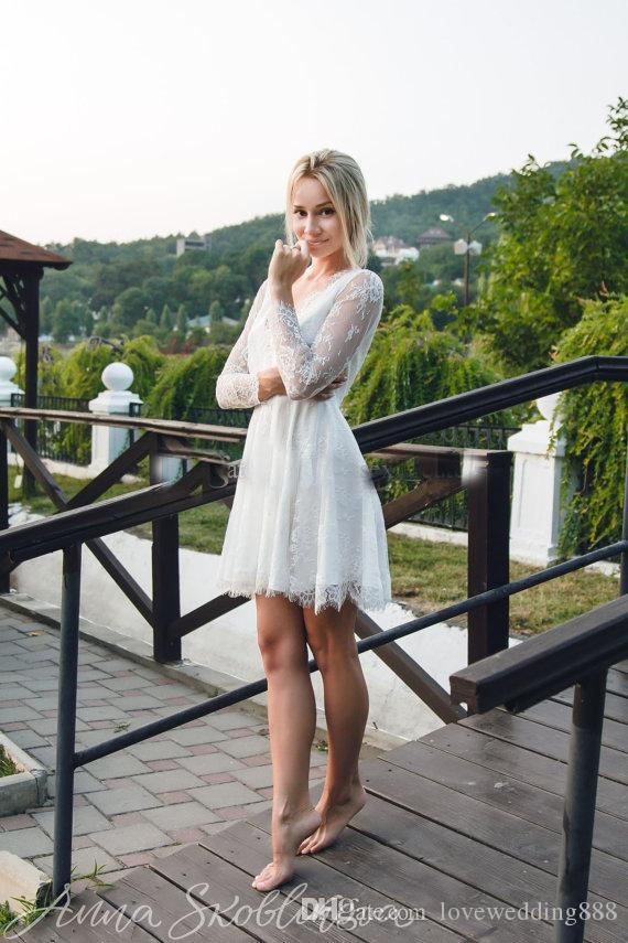 2019 Newest Short Wedding Dresses with Illusion Long Sleeves Full Lace V Neck Backless Summer Beach Bridal Gowns Party Wear